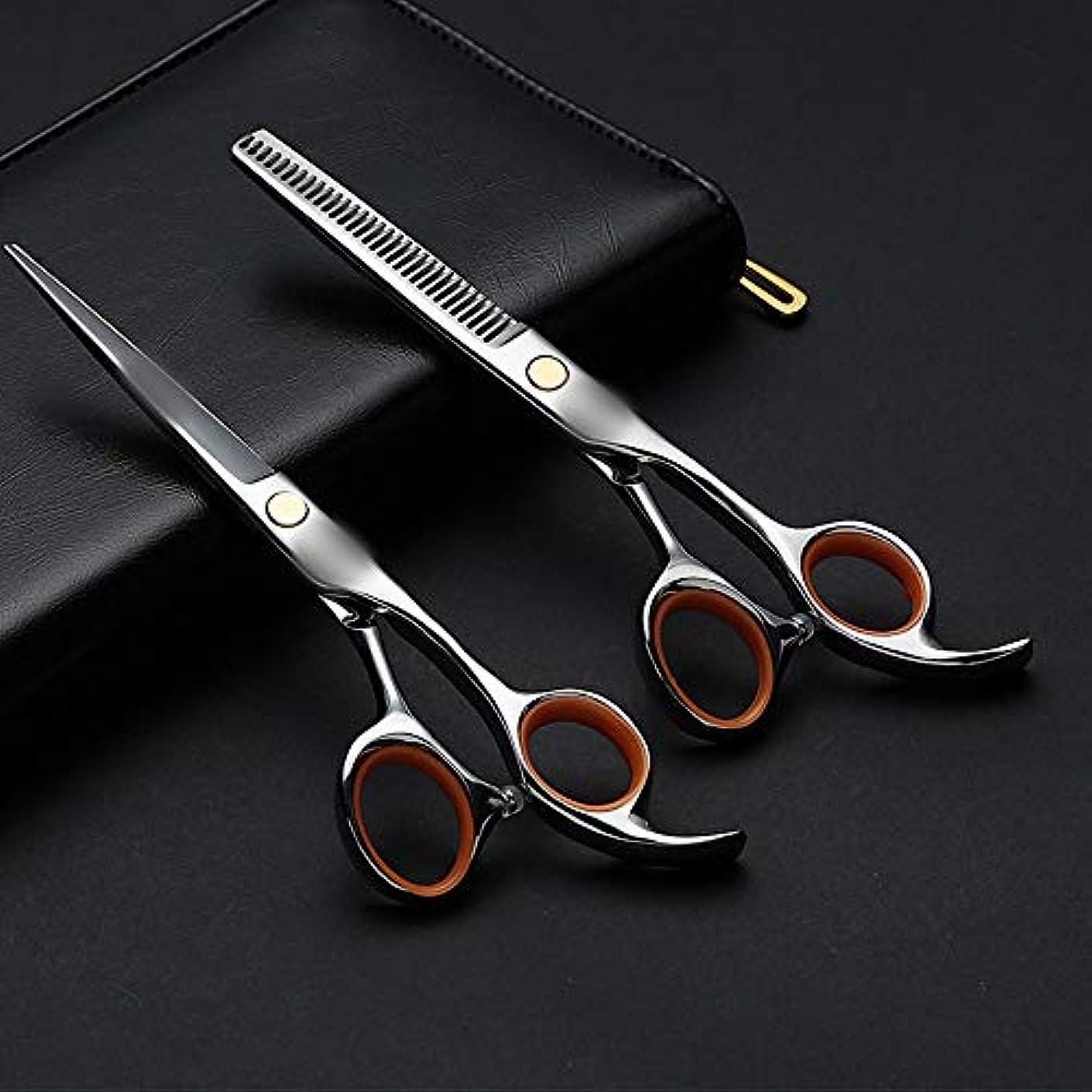 くちばしを除く活気づく6.0インチの専門の理髪はさみ、平らなシザー+歯はさみ理髪セット モデリングツール (色 : Silver)