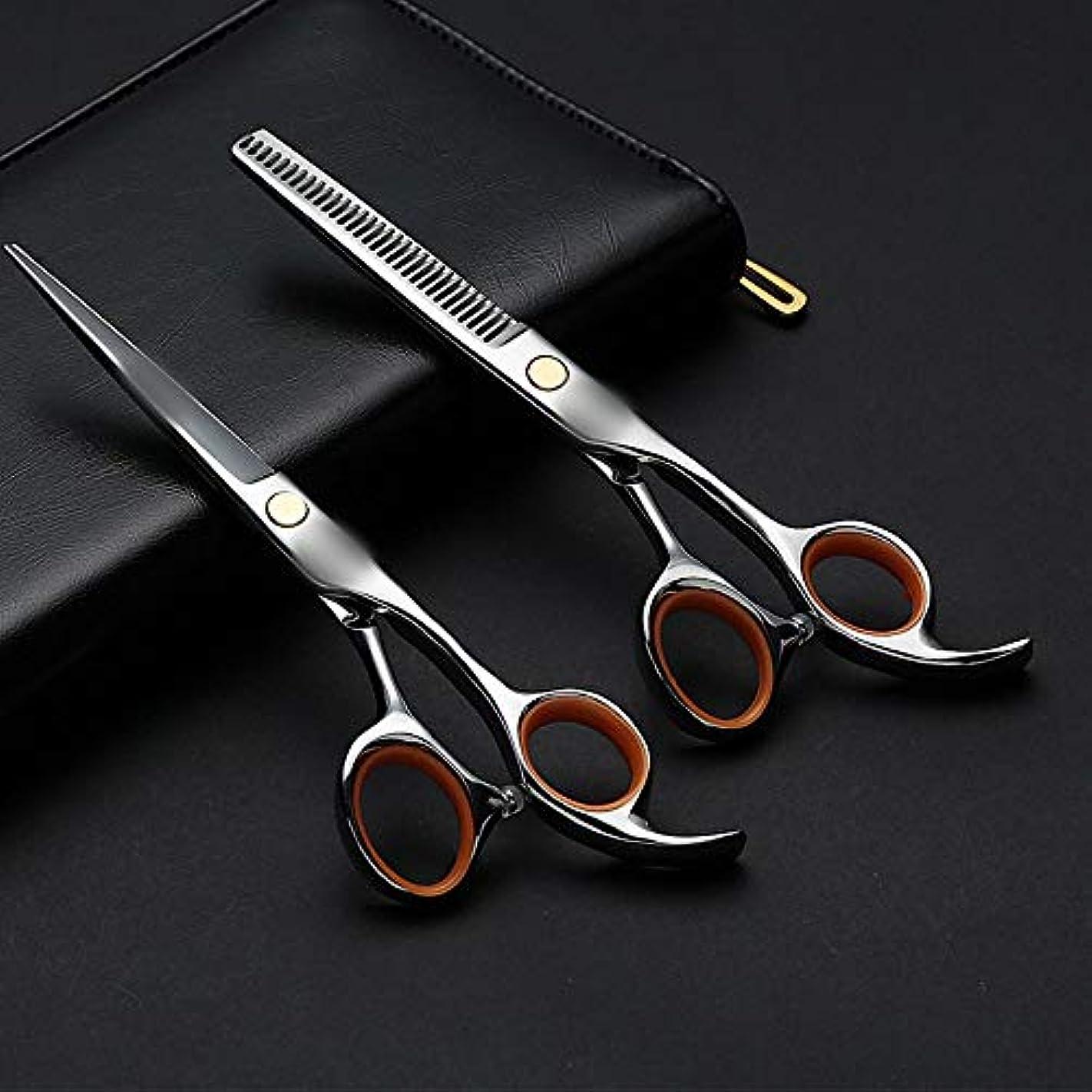 摂氏形状頼る6.0インチの専門の理髪はさみ、平らなシザー+歯はさみ理髪セット モデリングツール (色 : Silver)