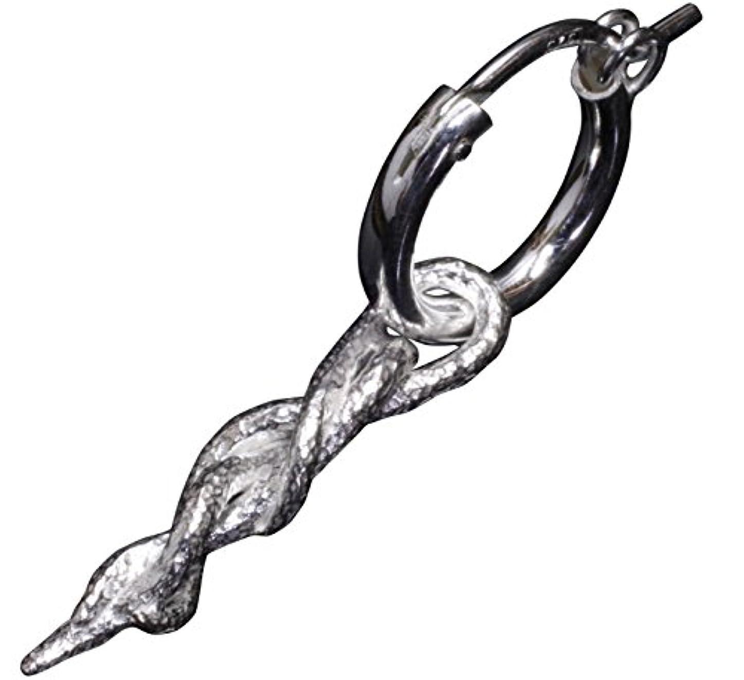熟練した太陽ヒゲクジラ龍頭 蔦ピアス 1ヶ シルバー 銀 伝統技法 和柄 和風