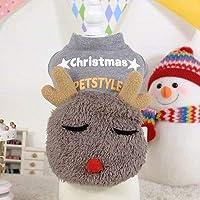 クリスマスグレー猫犬のコートセーターソフトペットの子犬服鹿スタイルのペットの綿の服暖かい秋冬衣装DOGGYZSTYLE:画像が示すように、S