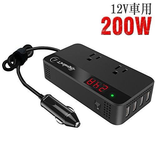 LST 200Wカーインバーター コンバーター 車載充電器 DC12VをAC100Vに交換 USB給電4口 AC100V電源2口 修正正...