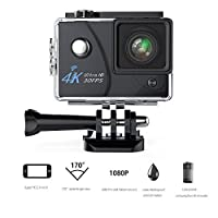 Action Camera VMTOP 16MP 4K Wi-Fi 30FPS 64 G TF card Ultra HD Waterproof Sports Cam 170°Wide-angle Lens Sport Camera DV Camcorder With 7 Accessory (Black) [並行輸入品]