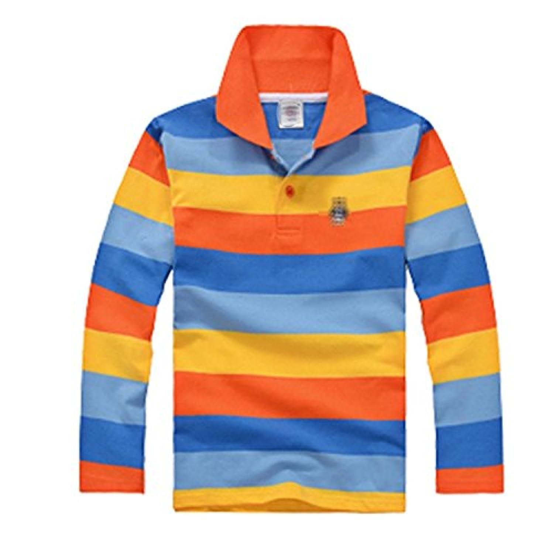 Tortor 1bacha(JP) ボーイズ秋の長袖Tシャツ綿の子供のラペルカラーストリップのTシャツのポロシャツ多色