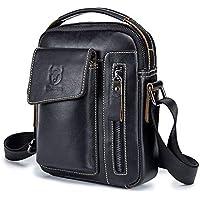 First Layer Leather Shoulder Messenger Bag,Genuine Leather Crossbody Bag,Single Shoulder Slung Sports Casual Business Leather Vertical IPad Leather Bag