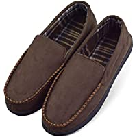 LA PLAGE 2017 Men's Non-Slip Indoor/Outdoor Microsuede Moccasin Shoes with Hardsole