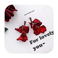 2019新しい甘い誇張赤い大きなアクリル花びらタッセルステートメントドロップイヤリング用女性女の子結婚式耳アクセサリーBrincos-6-