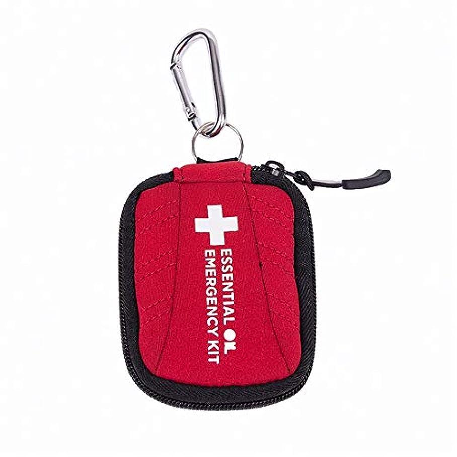 ウナギ劇的警察アロマセラピー収納ボックス キャリングケース2 MLバイアル完璧な旅行のためのエッセンシャルオイルエッセンシャルオイルのネオプレンホルスターバッグの16本のボトル エッセンシャルオイル収納ボックス (色 : 赤, サイズ : 11X9X1.5CM)
