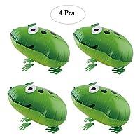 バルーン 風船 キラキラ光沢 空気入れ 4枚セット バースデー アルミ膜 カエル 素敵 バルーン誕生日 結婚式 パーティー 室内 飾り 装飾 インテリア 可愛い 蛙 グリーン ペット風船 Formemory 大型の風船