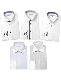 [ドレスコード101] ワイシャツ 5枚 セット 長袖 メンズ (形態安定) ドレスシャツ デザイン Yシャツ ぴったりが見つかる SHIRT-SET-30 カッタウェイワイドカラー 日本 M (日本サイズM相当)