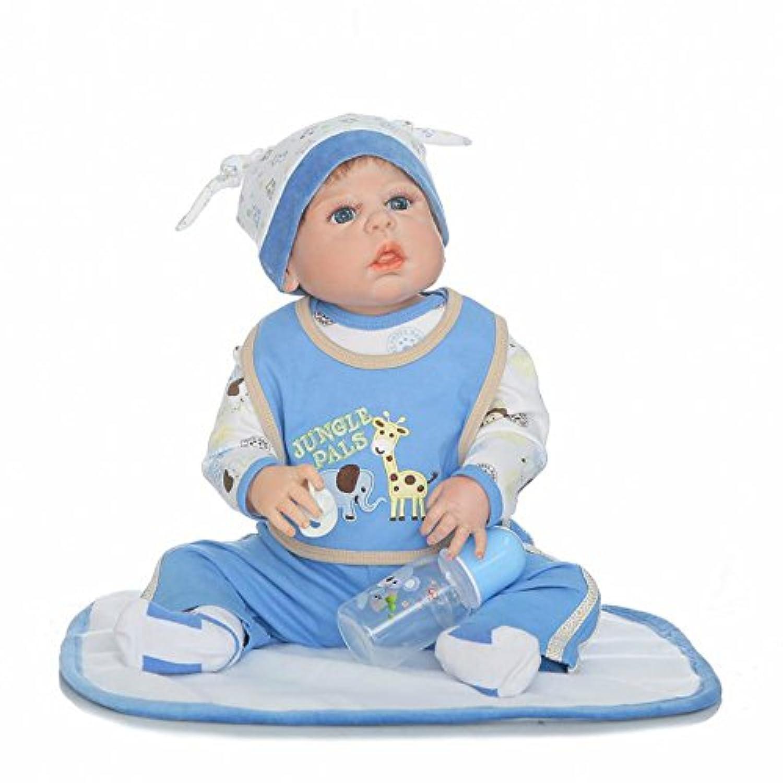 Rebornベビー人形Boyフルボディシリコンリアルな22インチ解剖学的に正しいビニール新生児磁気おしゃぶり子供おもちゃwith Mohair