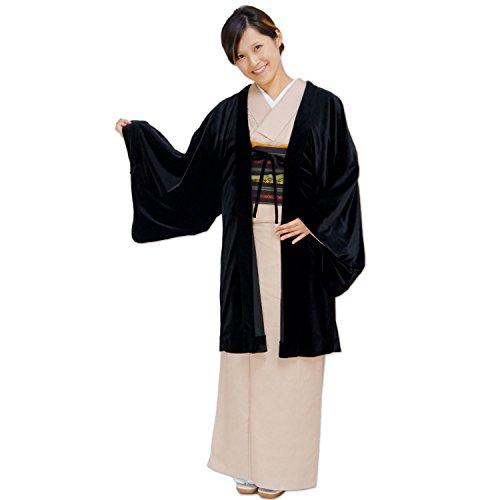 おとづき商店 着物 ベロア 羽織 着物 黒色 日本唯一 和装コート メーカーの国内仕立て 気楽に羽織れる 羽織り ベロア 生地 レディース