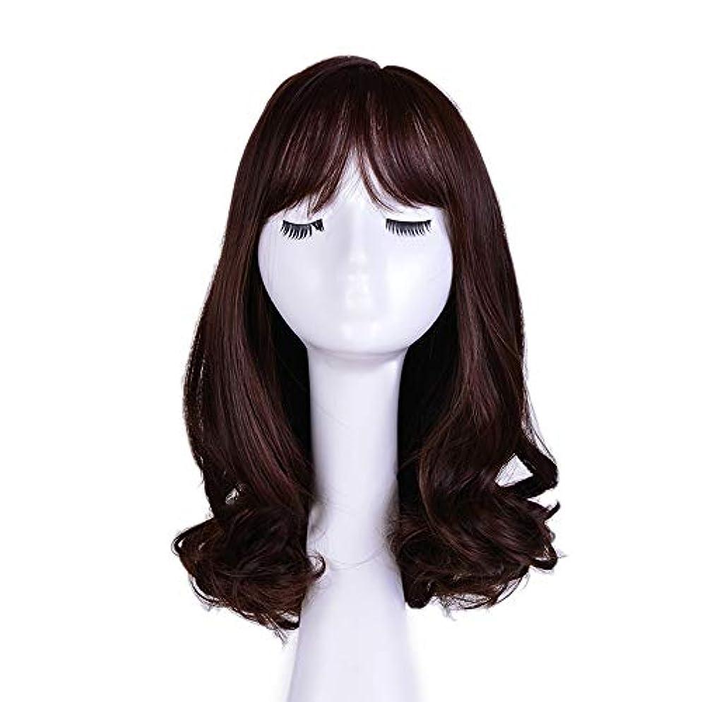 五ラグ長さWASAIO ブラウンウィッグライト前髪ナチュラルウェーブロングカーリーウィッグ (色 : ブラウン)