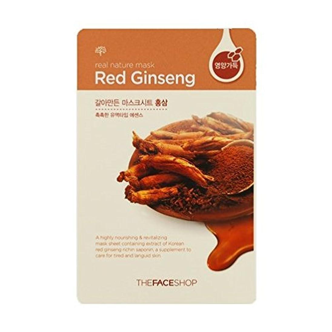 知恵徴収カエル[ザフェイスショップ] THE FACE SHOP [リアルナチュラル マスクシート] (Real Nature Mask Sheet) (Mask Sheet Red ginseng 20枚) [並行輸入品]