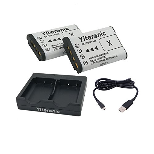 NP-BX1 Yiteronic 互換バッテリー(2個)と急速デュアル充電器 対応機種 Cyber-shot DSC-RX1 DSC-RX100 FDR-X3000 FDR-X3000R