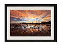 山、雲、日没、海 - アートプリント黒木製フレームフレームポスター家の装飾(60x40cm)