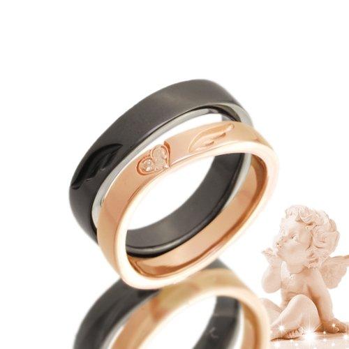 エンジェルペアリング ダイヤモンド 指輪 2個セット pair ring ケース付き【メンズブラック15号】【レディースピンクゴールドタイプ6号】