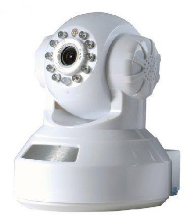 QRコードで簡単設定!!! スマホPCで映像音声を確認 遠隔操作 IPカメラ 監視見守り (ホワイト)