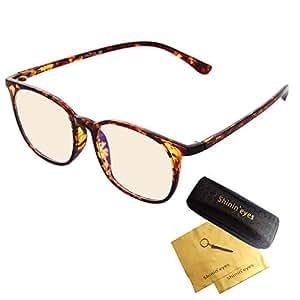 Shinin'eyes ブルーライトカット メガネ 88.47%のHEV有害光線カットを測定により実証 UV420 伊達メガネ サングラス
