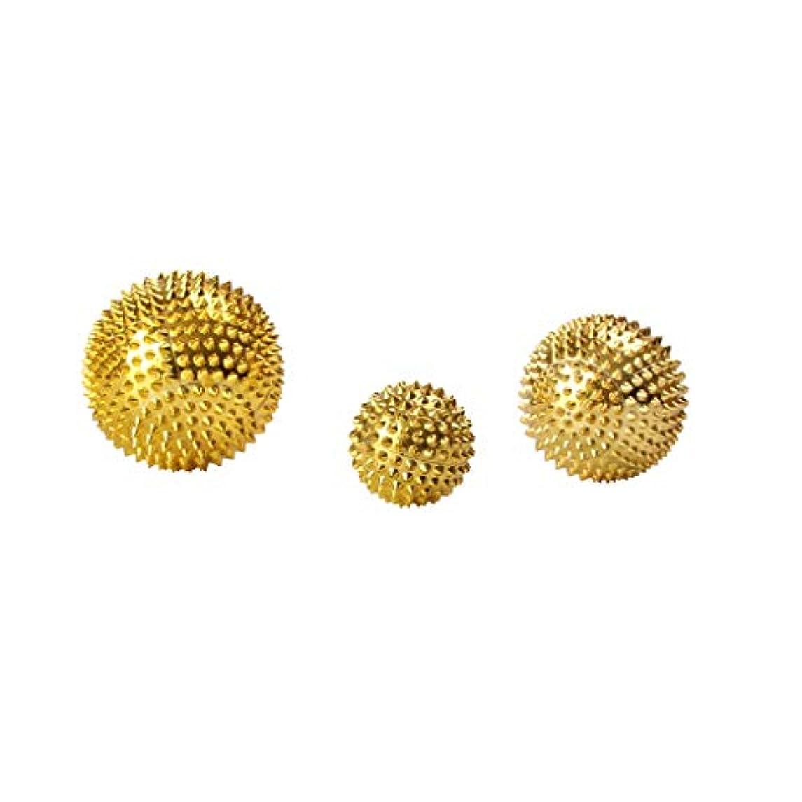 曲判読できないモノグラフFenteer 3個セット 磁気マッサージボール スパイク ローラー マッサージ 2色選べ - ゴールド