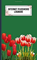 internet password logbook: 5x8 cute internet password book | cool internet password logbook paper with page numbers | internet password logbook | internet password notebook journal paper | tulip spring flower plant emerald color