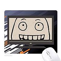 愚かな微笑の黒い絵文字パターン ノンスリップラバーマウスパッドはコンピュータゲームのオフィス