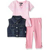U.S. POLO ASSN. Baby-Girls 5602 3 Piece Lace Up Fashion Top, Vest, and Legging Pant Layette Set - Multi