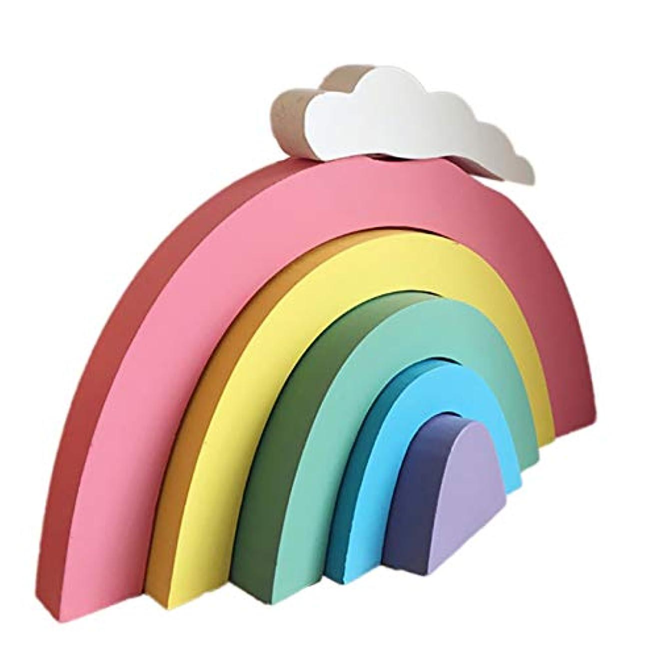 つらい論争的頭痛Tiamu 木製、レインボーのビルディングブロック、装飾、キッズルームの装飾品、オーナメント、ギフト、壁のベビー保育園飾り物(多色)