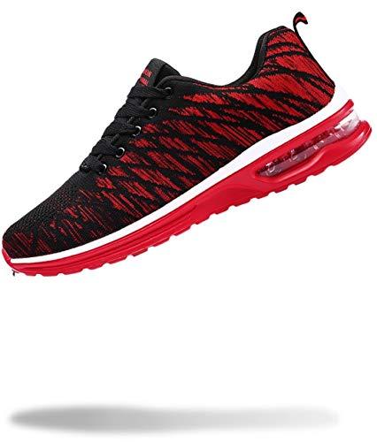 [50dB] エアライト メンズ スニーカー 軽量 運動靴 くつ シューズ ジム トレーニング 大きいサイズ 45 (レッド 27.5cm)