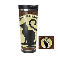 ハロウィンムーンキャットステンレス鋼サーモスウォーターボトル断熱真空カップ防漏型二重真空ボトルホット&コールドドリンク用コーヒーまたは紅茶、トラベルサーマルマグ400ml