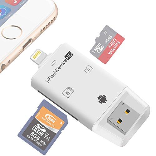 Himart カードリーダー iOS・PC対応 携帯用SDカードリーダー トレイルカメラ用SDカードリーダー i-FlashDrive Mirco SD/TF カードリーダー iPhone5/6/6s/7/7Plus iPad PC対応でき コンパクト