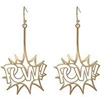 cooltime Stainless Steel POW POW Drop Dangle Earrings Hip-hop Club Punk Earrings for Girls and Women Gifts for Teen Girls