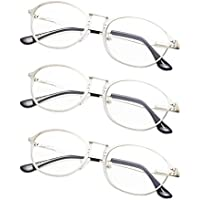 3-Pack Retro Reading Glasses Metal Frame with Spring Hinges for Men and Women