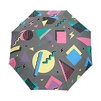 折りたたみ傘 ワンタッチ自動開閉 高強度グラスファイバー8本骨 耐風撥水 日傘 UVカット 遮光率99% 晴雨兼用 レディース 旅行 アウトドア用(90年代の幾何学)