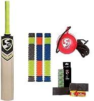 SG クリケットキット IBall (コード付きボール) Phoenix Xtreme' Kashmir Willow Cricket bat + 3 Cricket Bat Grip Toe Guard Pack Batcare シニアプレーヤー 素早い発送