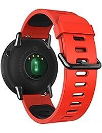 22MM時計バンドPinhen 腕時計用ベルトのシリコーンストラップ ラバーベルト運動 交換バンド 高級シリコン ベルト防水対応LG G Watch MOTO 360 46MM Pebble Time (Black)