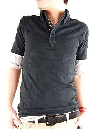 (アーケード) ARCADE 4color 2点セット/ジャガード織り シャドー 格子柄 ポロシャツ + 5分袖Tシャツ(チャコール)+5分袖Tシャツ(ブラック) XL