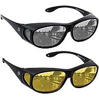 HD Day Night Driving Glasses Fit Over Sunglasses for Men & Women - Anti Glare Polarized Wraparounds