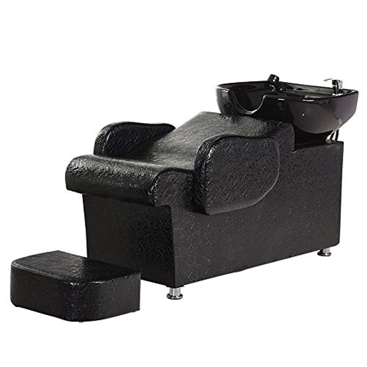 フェローシップ粘土アトラスシャンプーチェアバックウォッシュボウルユニットステーション理容室チェアスパサロン機器フラッシングベッドセラミック盆地、黒