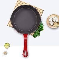 ホーロー鋳鉄製フライパン 8インチ ラウンド型 料理用 シェフのクラシックなスキレット 注ぎ口付き チェリーレッド