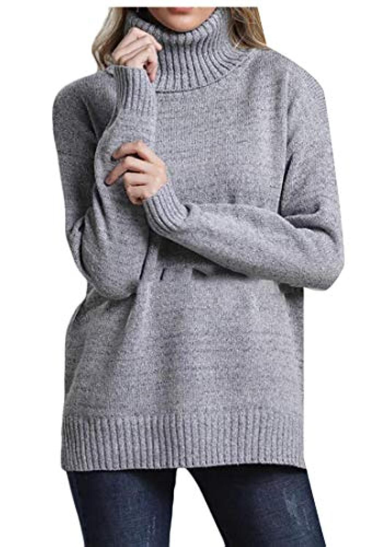 maweisong レディース立体タートルネックニットオールルーズフィットプルオーバーセーター