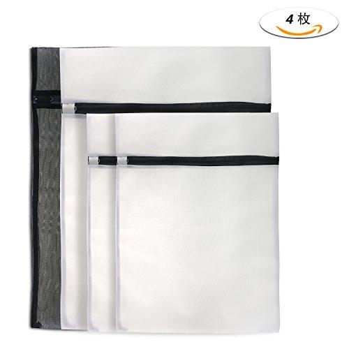 Philonext 4枚セット 洗濯ネット 洗濯袋 洗濯 ネット 旅行袋 衣服収納 ランドリーネット ランドリー用 洗濯機用 傷み防止 ブラック+ホワイト