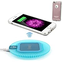 Antye Qi (チー)ワイヤレス充電器キットiPhone 6/ iPhone 6S, リムーバブル雷コネクタを含むワイヤレスレシーバケースとワイヤレス充電パッド (青/ローズゴールド)
