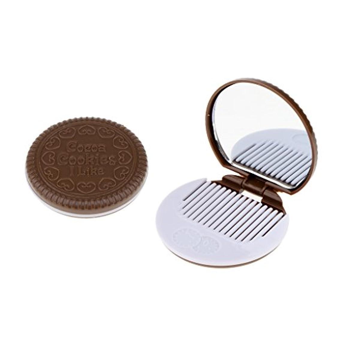 ハウジングカブクリア2個入 メイクアップミラー 化粧ミラー 化粧鏡 コーム ポケットサイズ 可愛い ラウンド 折りたたみ 全4色 - 褐色