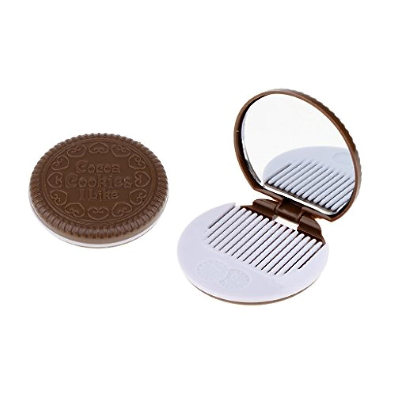 容赦ない兵士現代のToygogo 化粧鏡 メイクアップミラー メイクミラー ポケット 折りたたみ コーム 全4色 - 褐色