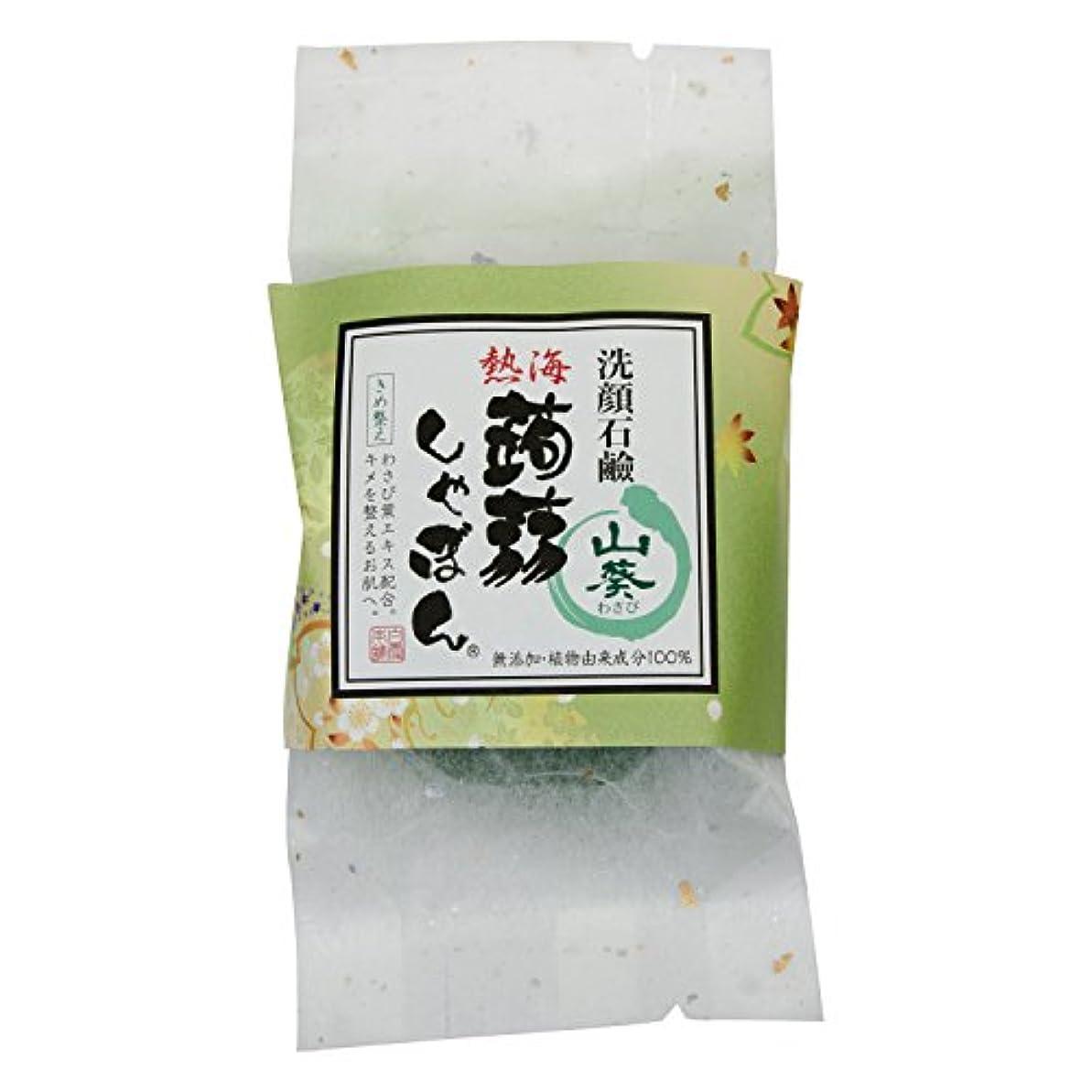 熱海 蒟蒻しゃぼん ぷるぷる 洗顔石鹸 石鹸 保湿 泡立ちソープ 内容量:100g (山葵 わさび)