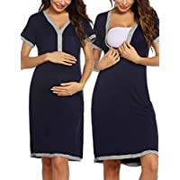Ekouaer Women's Maternity Dress Short Sleeve Nursing Nightgown for Breastfeeding Sleepwear S-XXL