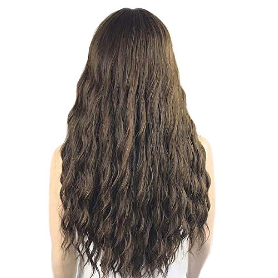 ちらつき合理化統合するロングブラウンウィッグ、ルーズカーリーウィッグ合成ロングウィッグブラウンウィッグ前髪ナチュラルルックス耐熱ファイバー毛用女性用