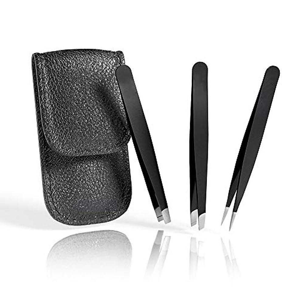 シャークマラドロイト倒産毛抜き レザーケース付 高級ステンレス製 ピンセット 処理 3セット ブラック