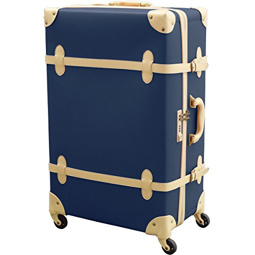 FIELDOOR ヴィンテージ風 トラベルキャリーケース スーツケース Lサイズ (ブルー) 【ファスナータイプ】