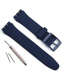 Swatch交換用 防水シリコンラバー腕時計ストラップ時計バンド (17mm, ネイビー)